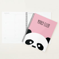 Adorable Kawaii Panda Bear Face Personalized Pink Planner