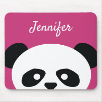 Adorable Kawaii Panda Bear Face Pink Personalized Mouse Pad