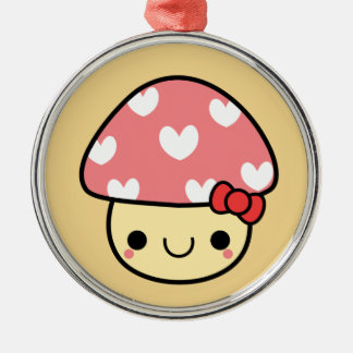 Adorable Kawaii Pink Bow Mushroom Ornament