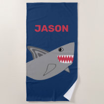 Adorable Kids Gray Shark Blue Boys Fish Beach Towel