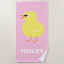 Adorable Kids Yellow Chick Pink Girls Beach Towel