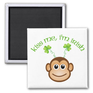 Adorable Kiss Me, I'm Irish Monkey Face Tees, Gift 2 Inch Square Magnet