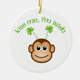 Adorable Kiss Me, I'm Irish Monkey Face Tees, Gift Christmas Ornament