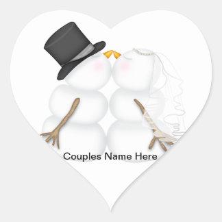 Adorable Kissing Snowman Couple Heart Sticker