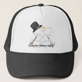Adorable Kissing Snowman Couple Trucker Hat