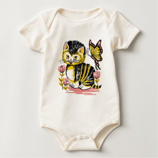 Adorable Kitten and Butterfly Baby Bodysuit