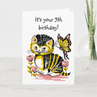 Adorable Kitten and Butterfly Fifth Birthday Card