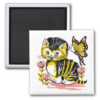 Adorable Kitten and Butterfly Magnet