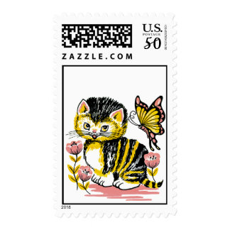 Adorable Kitten and Butterfly Postage