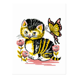 Adorable Kitten and Butterfly Postcard
