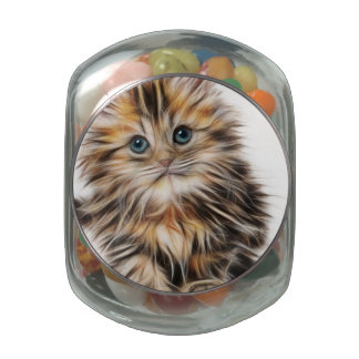 Adorable Kitten Painting Glass Candy Jar