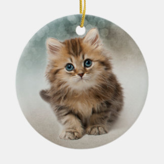 Adorable Kitten - with Quote Ceramic Ornament