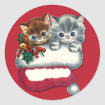 Adorable Kittens on Gift Tag Stickers