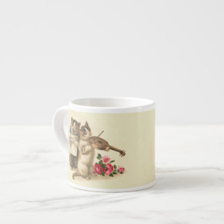 Adorable Kittens sing and Play Violin 6 Oz Ceramic Espresso Cup