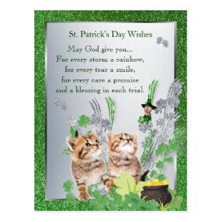 Adorable Kittens St Pattys Day Spiritual Message Postcard