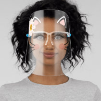 Adorable Kitty Cat Ears Lashes Whiskers & Flower Face Shield