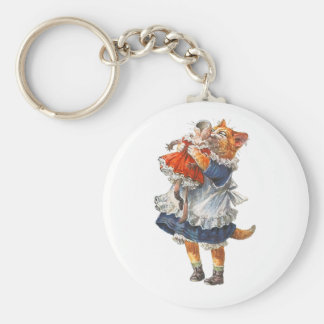 Adorable Kitty Cat Hugs Her Broken Doll. Basic Round Button Keychain