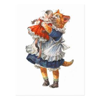 Adorable Kitty Cat Hugs Her Broken Doll. Postcard