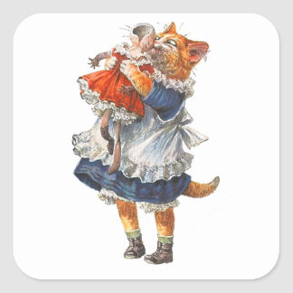 Adorable Kitty Cat Hugs Her Broken Doll. Square Sticker