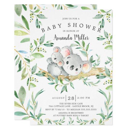 Koala Bear Baby Shower Invitations
