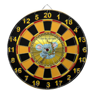 Adorable koala bear in a tree in the forest dartboard with darts