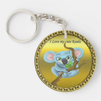 Adorable koala bear in a tree in the forest keychain