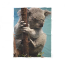 Adorable Koala Holding Onto Tree Fleece Blanket