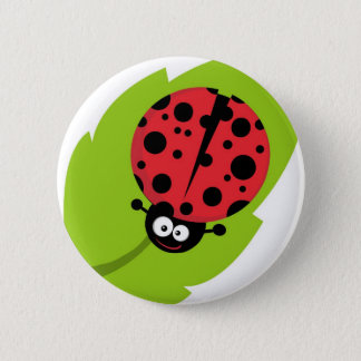 Adorable Ladybug on a Leaf Button