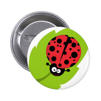 Adorable Ladybug on a Leaf Pinback Button
