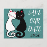 Cute LGBT Kitty Cats In Love Wedding Save The Date Postcard