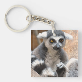 Adorable Lemur Double-Sided Square Acrylic Keychain