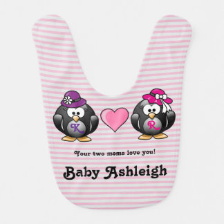 Adorable Lesbian Penguins Two Brides Heart Hat Baby Bib