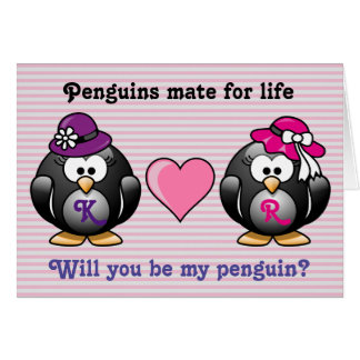 Adorable Lesbian Penguins Two Brides Heart Hat Card