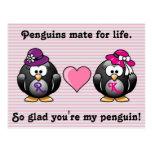 Adorable Lesbian Penguins Two Brides Heart Hat Postcard