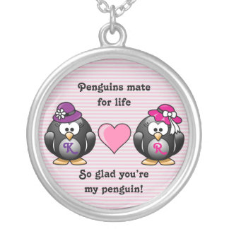 Adorable Lesbian Penguins Two Brides Heart Hat Silver Plated Necklace