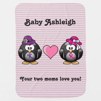 Adorable Lesbian Penguins Two Brides Heart Hat Swaddle Blanket