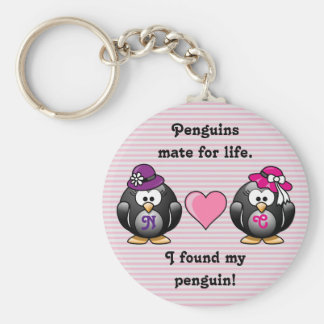 Adorable Lesbian Penguins Two Brides Heart Hats Keychain