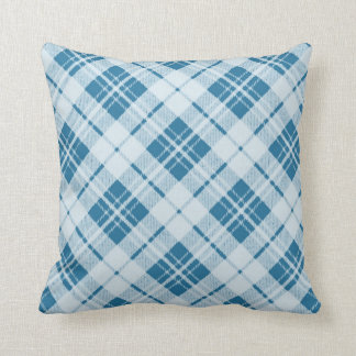 Adorable Light Blue Christmas tartan PLdesign Throw Pillow