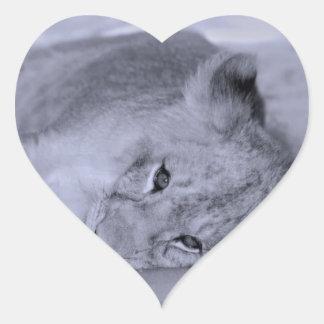Adorable lion cub resting heart sticker