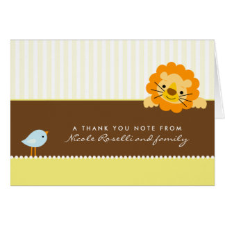 Adorable Lion Photo (inside) Thank You Card: lemon Card