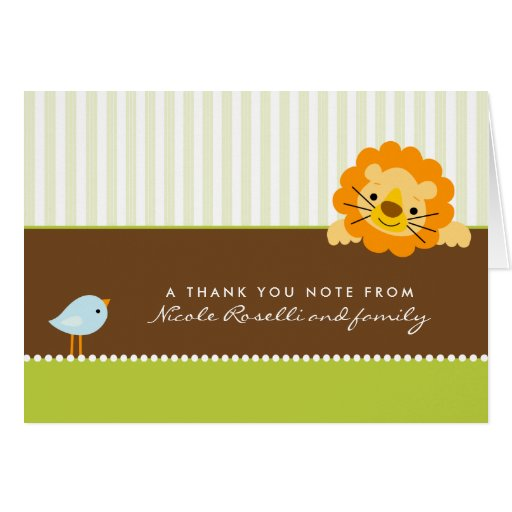 Adorable Lion Photo (inside) Thank You Card: lime Card