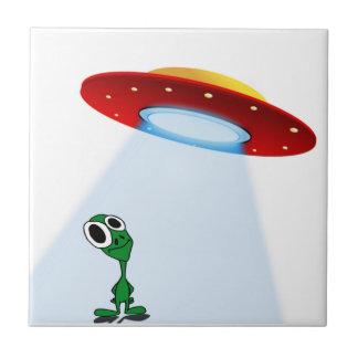 Adorable Little Alien & Flying Saucer Ceramic Tile