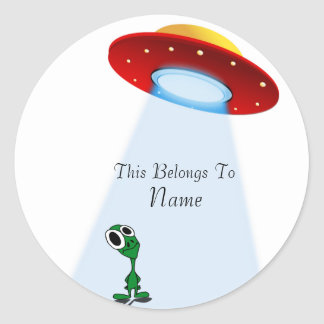Adorable Little Alien & Flying Saucer Classic Round Sticker