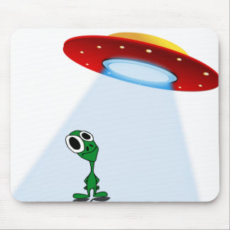 Adorable Little Alien & Flying Saucer Mouse Pad