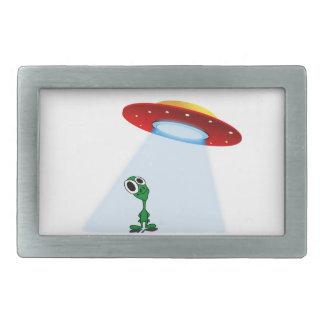 Adorable Little Alien & Flying Saucer Rectangular Belt Buckle