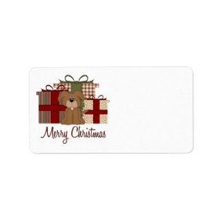 Adorable Little Brown Doggy Christmas Holiday Custom Address Labels