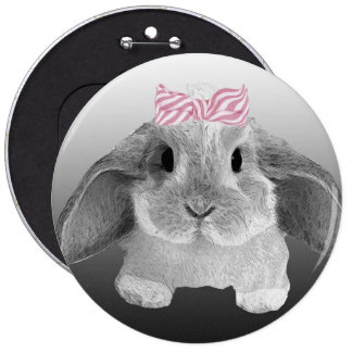 Adorable little bunny with a pink bow pinback button