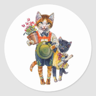 Adorable Little Cats Bearing Gifts Classic Round Sticker
