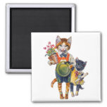 Adorable Little Cats Bearing Gifts 2 Inch Square Magnet