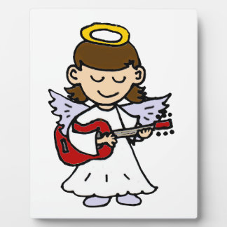 Adorable Little Girl Angel with Guitar Plaque